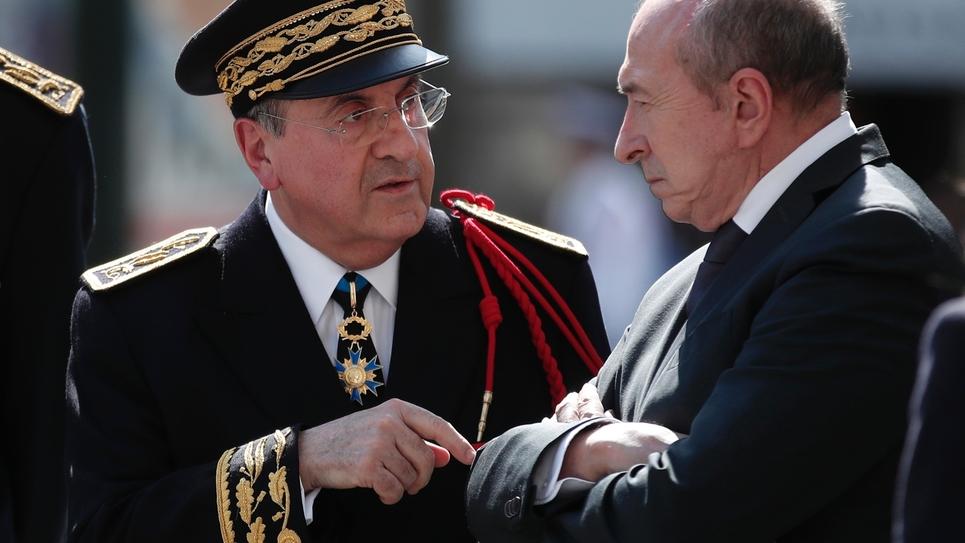 Le préfet de Paris Michel Delpuech et le ministre de l'Intérieur Gérard Collomb, à Paris, le 20 avril 2018.