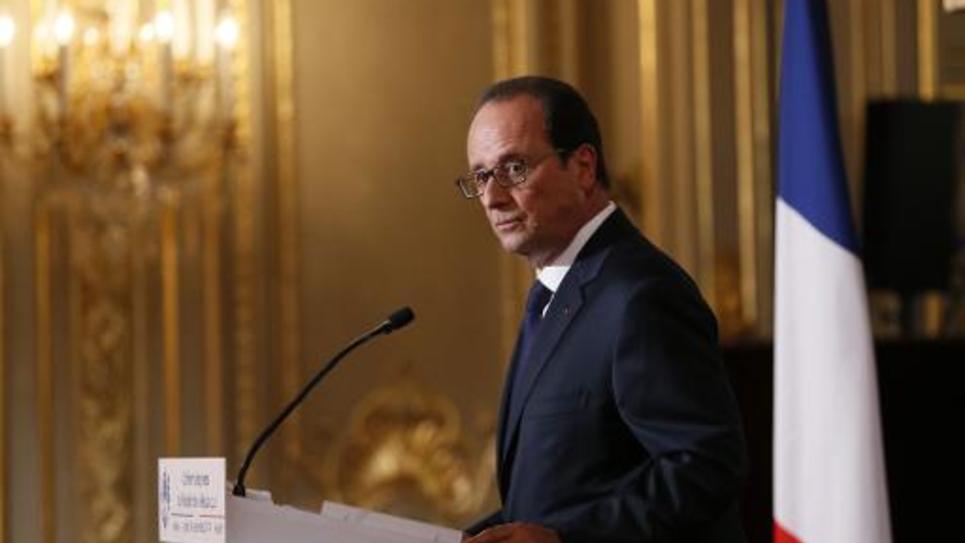 Le président de la République François Hollande lors d'une conférence de presse au palais de l'Elysée, à Paris, le 18 septembre 2014
