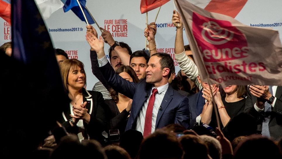 Benoît Hamon lors d'un meeting électorale à Lille, le 27 janvier 2017
