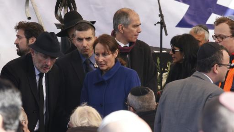 Ségolène Royal lors des funérailles des juifs français tués à Paris, le 13 janvier 2015 à Jérusalem