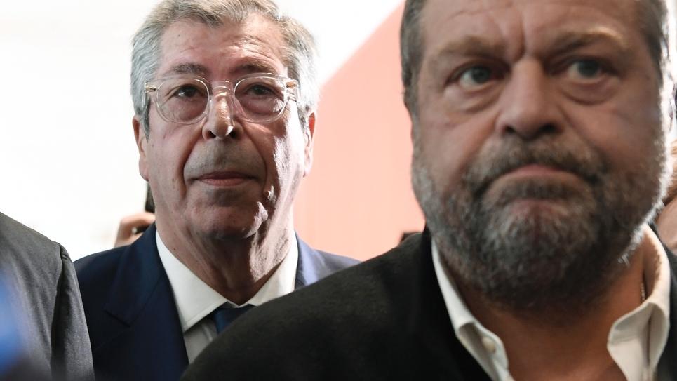 Patrick Balkany (G) et son avocat Eric Dupont-Moretti le 13 mai 2019 à Paris