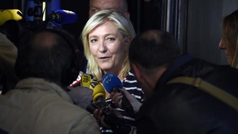 La présidente du FN, Marine Le Pen, à Paris le 18 mai 2015