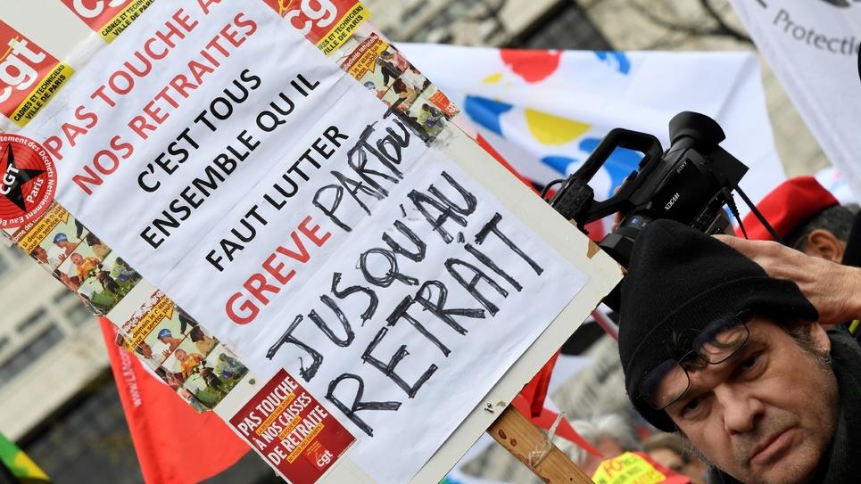 Manifestation de fonctionnaires contre le projet de réforme des retraites le 15 janvier 2020 à Paris