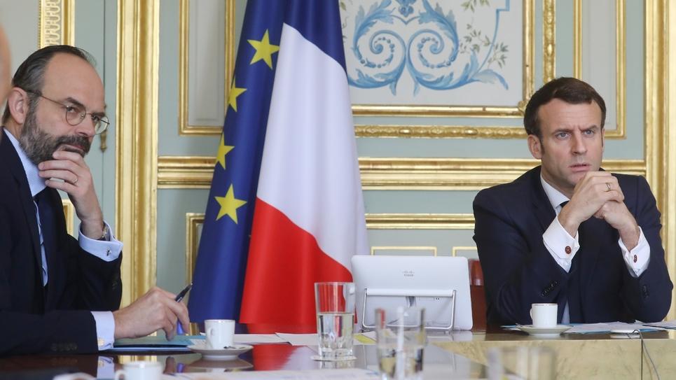 Le Premier ministre Edouard Philippe et le président Emmanuel Macron, à l'Elysée le 19 mars 2020