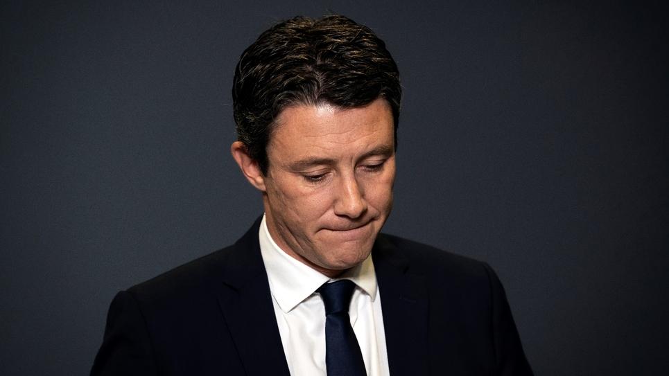 Benjamin Griveaux annonce dans les locaux de l'AFP son retrait de la campagne municipale à Paris le 14 février 2020