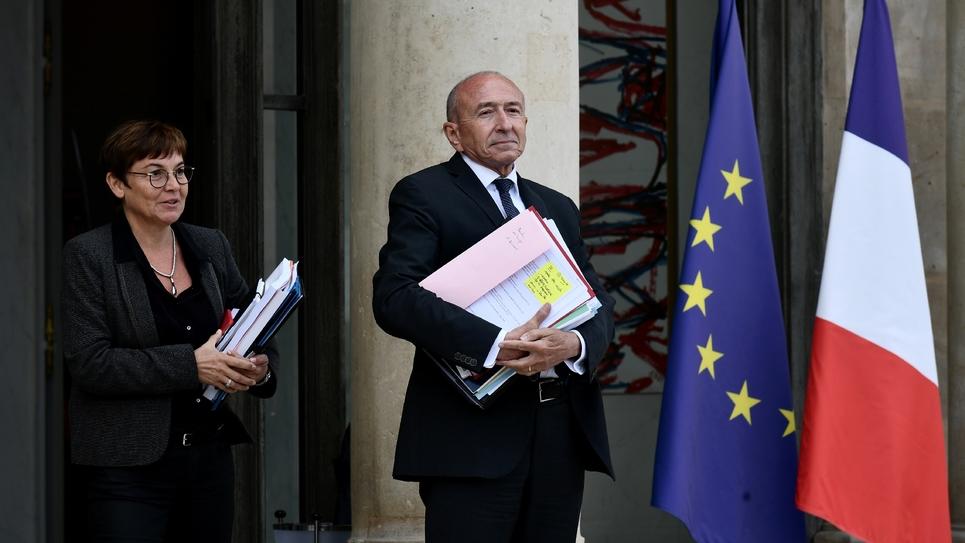 Gérard Collomb (C), le 24 septembre 2018 à l'Elysée