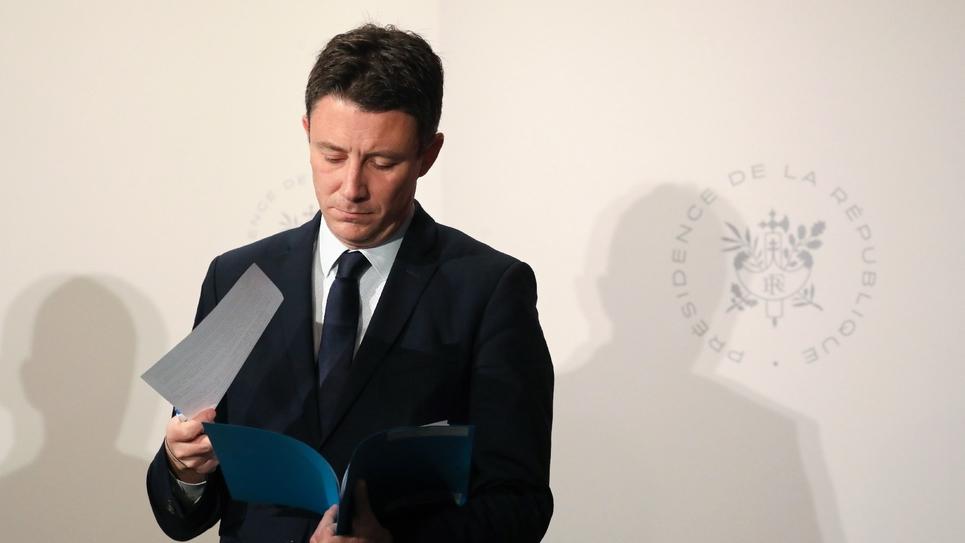 Le porte-parole du gouvernement Benjamin Griveaux lors d'une conférence de presse après le Conseil des ministres, le 27 mars 2019 à Paris