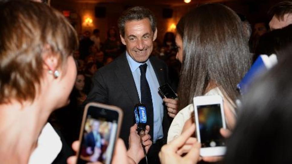 Nicolas Sarkozy lors d'un concert de Carla Bruni le 24 avril 2014 à New York