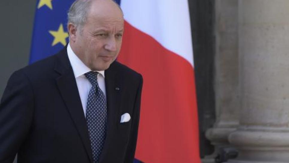 Le ministre des Affaires étrangères Laurent Fabius, le 8 avril 2015 à sa sortie de l'Elysée