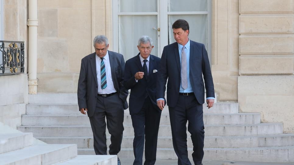 Le sénateur LR de Nouvelle-Calédonie Pierre Frogier (au centre) à l'Elysée, le 27 juin 2018