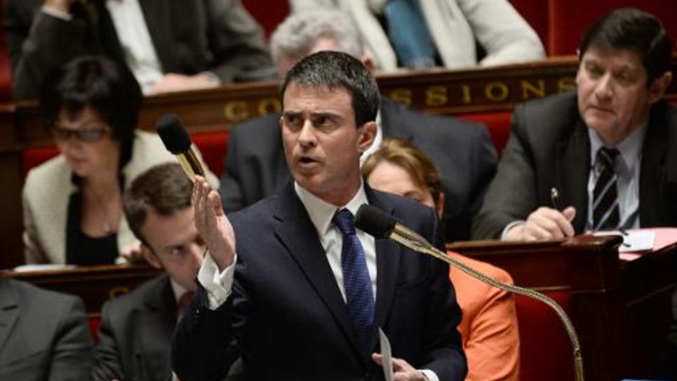 Le Premier ministre Manuel Valls s'exprime à l'Assemblée nationale à Paris le 21 janvier 2015