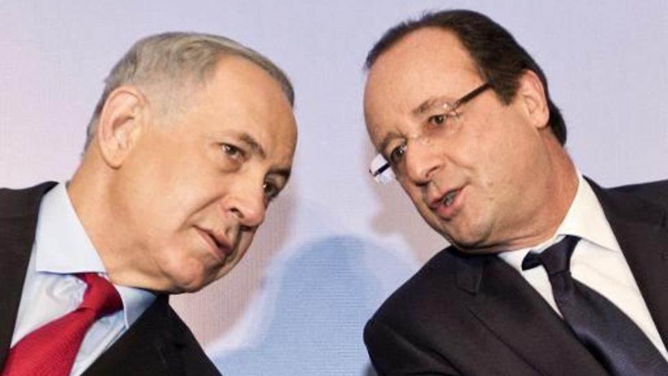 Le président François Hollande et le Premier ministre israélien Benjamin Netanayhu, lors d'une visite en Israël le 19 novembre 2013