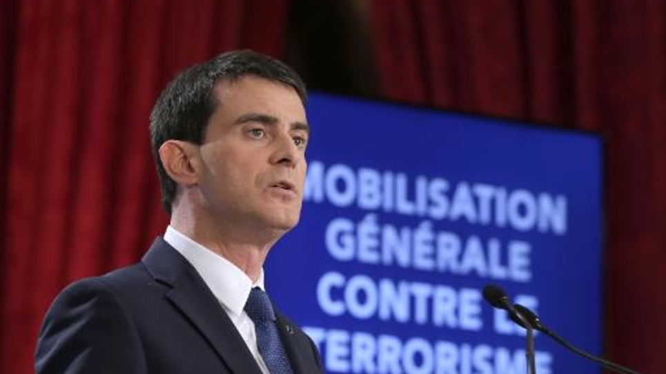 Le Premier ministre Manuel Valls s'exprime le 21 janvier 2015 devant la presse à Paris pour dévoiler les nouvelles mesures de sécurité