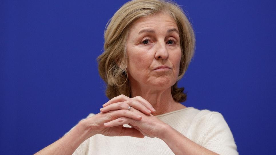 Isabelle Falque-Pierrotin, une des garantes du grand débat, lors d'une conférence de presse, le 22 janvier 2019 à Paris