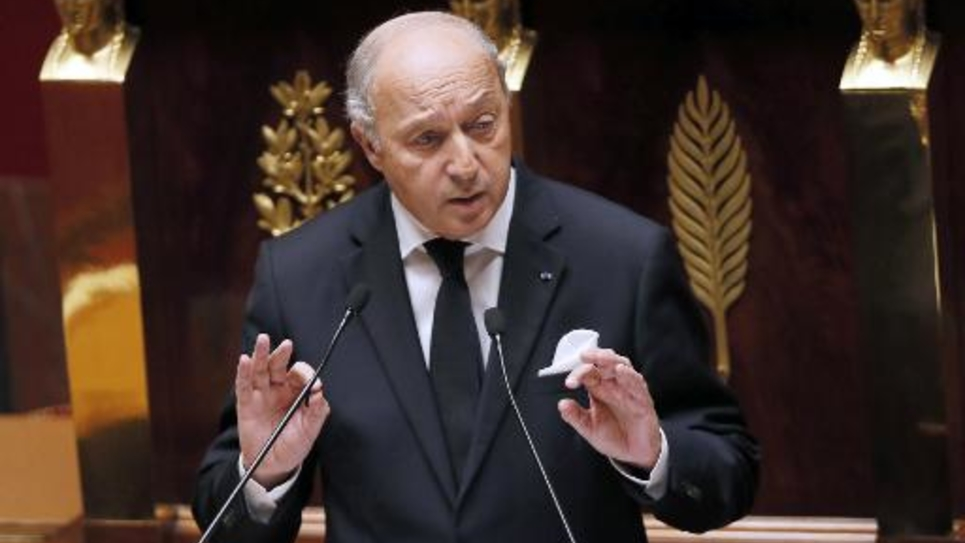 Le ministre des Affaires étrangères Laurent Fabius à la tribune de l'Assemblée nationale, le 28 novembre 2014