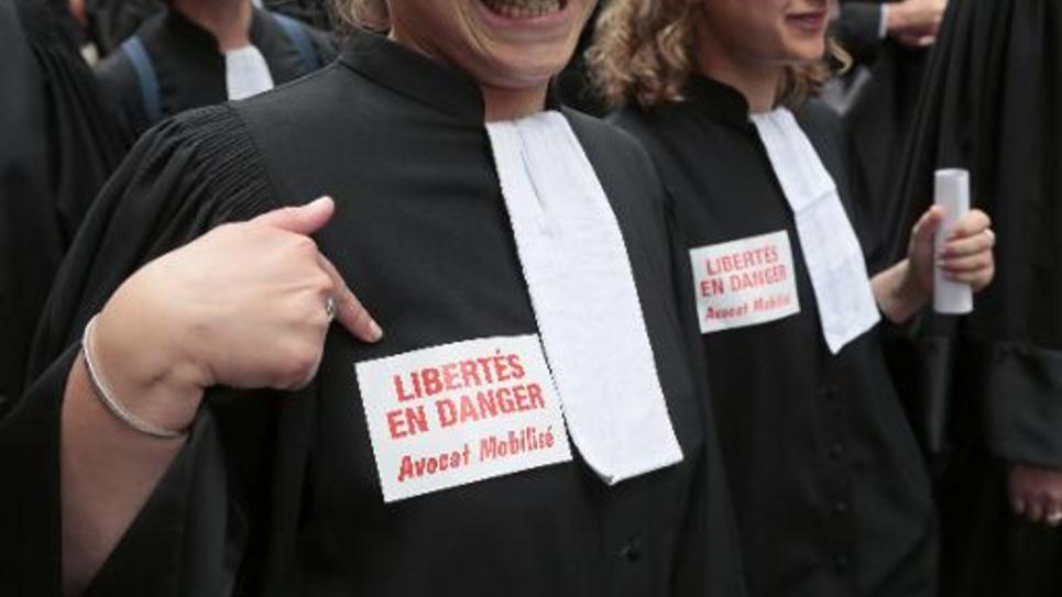 Des avocats en grève contre la réforme de l'aide juridictionnelle à Paris, le 7 juillet 2014
