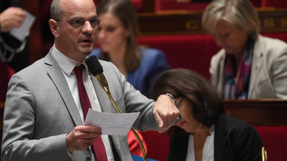 Le ministre de l'Education Jean-Michel Blanquer le 6 février 2019 à l'Assemblée nationale à Paris