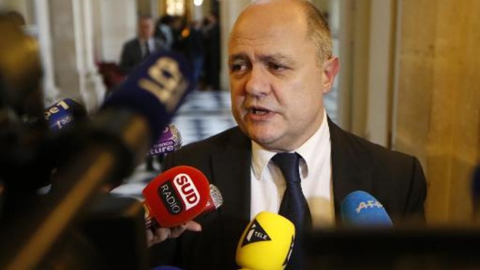 Le président du groupe PS  Bruno Le Roux le 17 février 2015 à l'Assemlée nationale à Paris