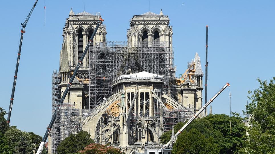 Travaux de réparation en cours à la cathédrale Notre-Dame de Paris, le 9 juillet 2019