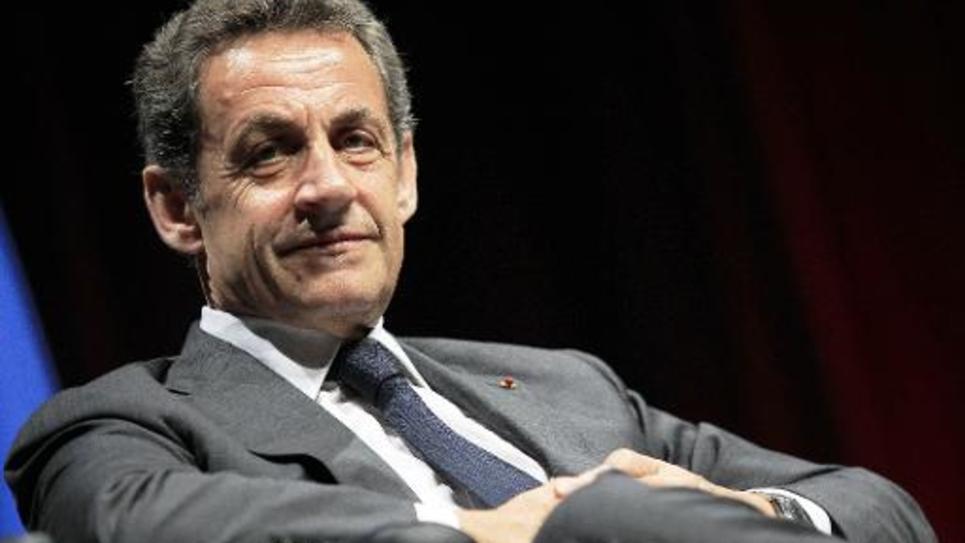 Nicolas Sarkozy avant de s'adresser aux militants de l'UMP, le 22 avril 2015 à Nice