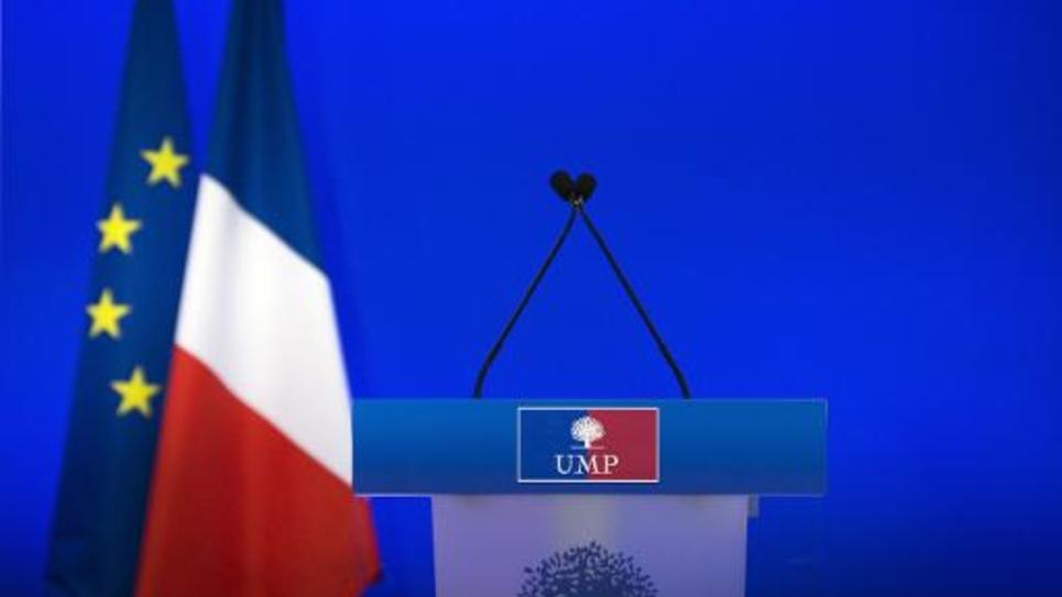 Le pupitre vide au siège de l'UMP le 3 mars 2014 à Paris