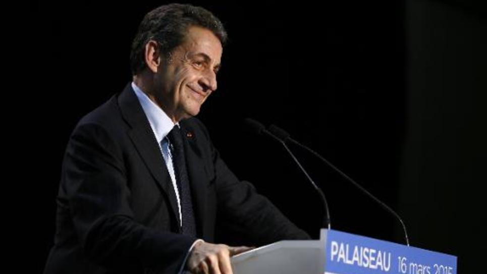 Nicolas Sarkozy, président de l'UMP, lors d'un meeting à Palaiseau le 16 mars 2015