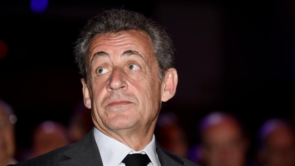 L'ancien président Nicolas Sarkozy à Bagnolet près de Paris, le 20 avril 2018