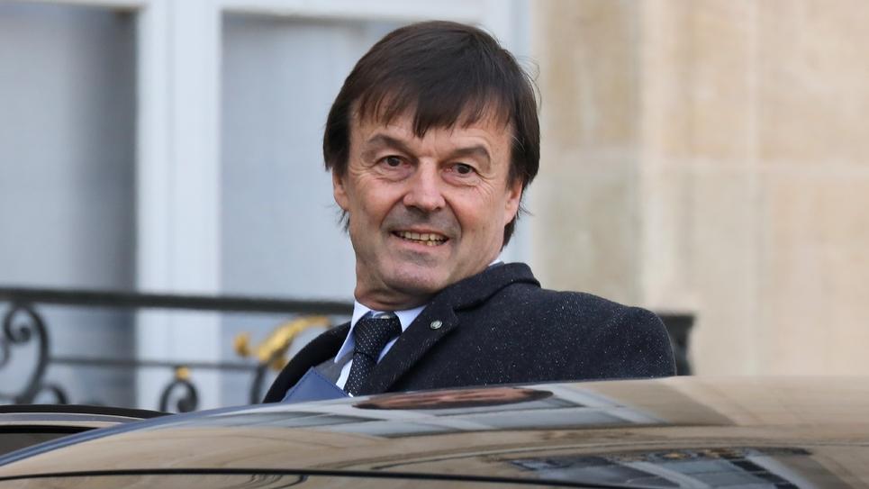 Le ministre de l'Ecologie Nicolas Hulot quitte l'Elysée, le 8 février 2018