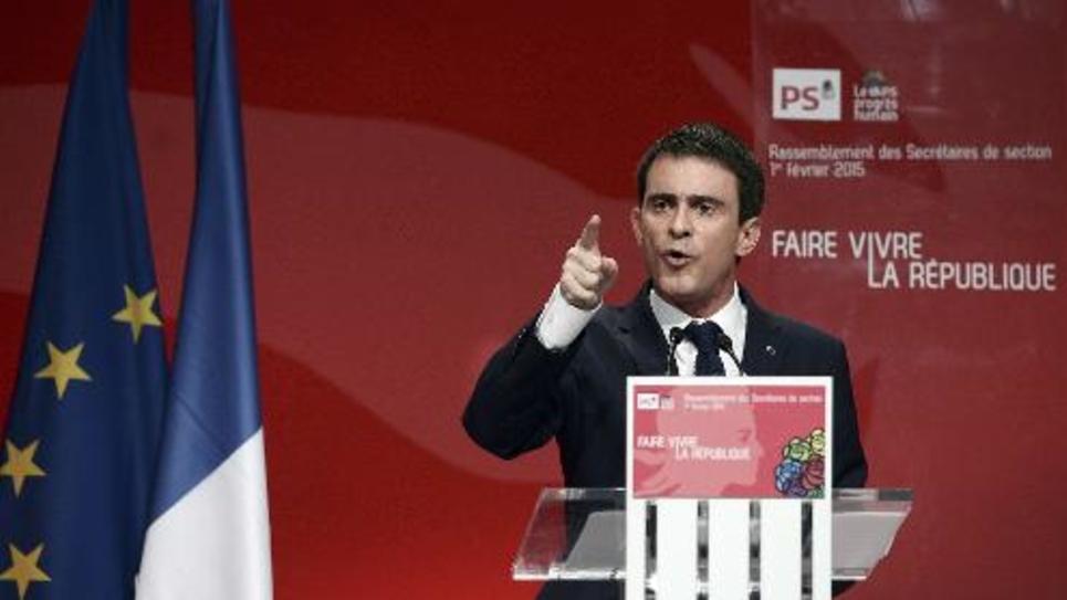Le Premier ministre Manuel Valls lors d'un meeting du Parti socialiste le 1er février 2015 à Paris