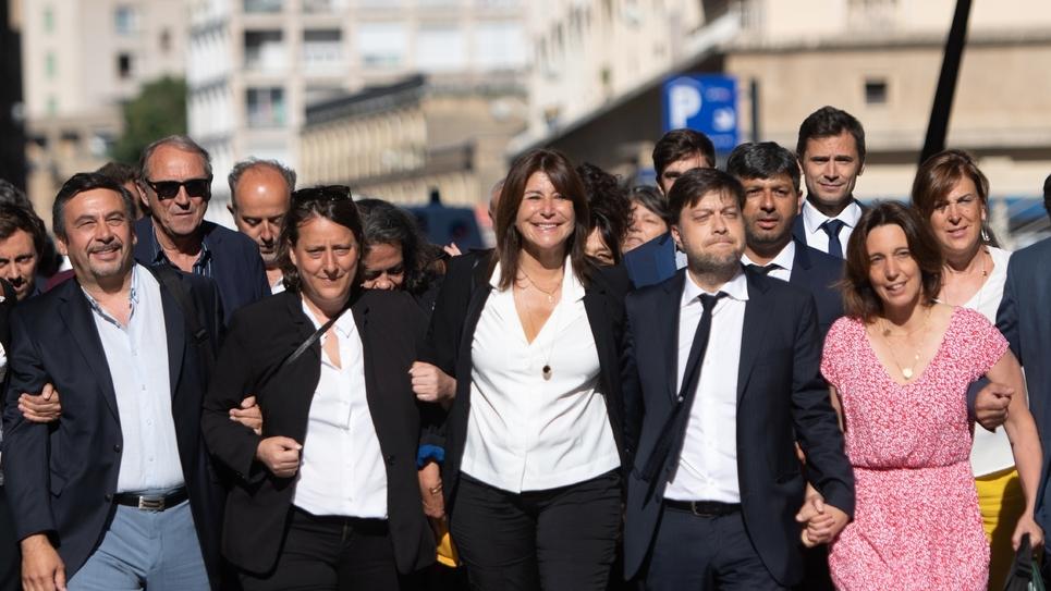 Arrivée de Michèle Rubirola (C) et son équipe le 4 juillet 2020 pour le premier conseil municipal