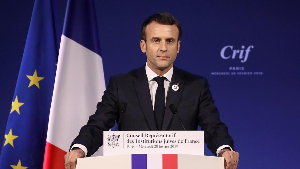 Le président Emmanuel Macron lors du dîner du Crif, le 20 février 2019 à Paris