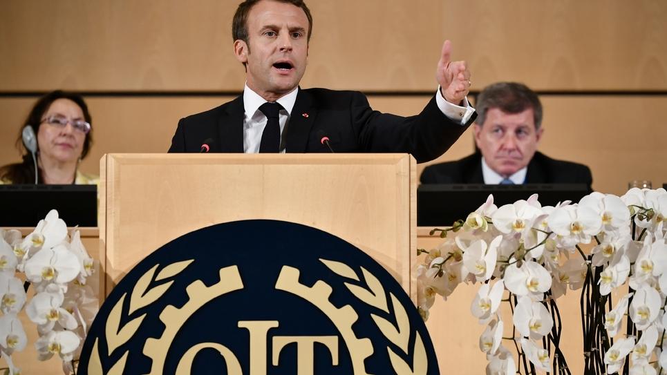 Emmanuel Macron prononce un discours devant l'Organisation internationale du travail à Genève, le 11 juin 2019