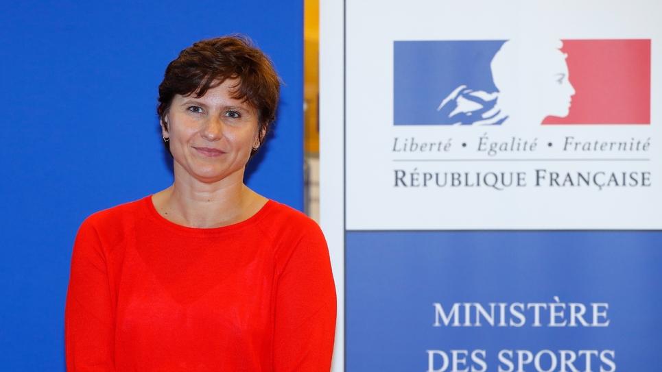 La nouvelle ministre des Sports Roxana Maracineanu, lors de la cérémonie de passation de pouvoirs à Paris, le 4 septembre 2018