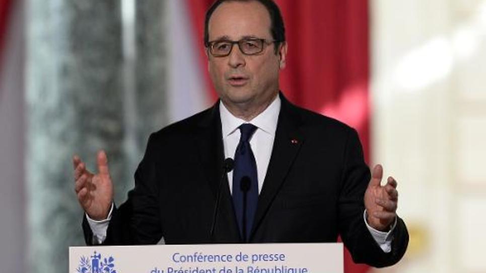 François Hollande lors de la 5e conférence de presse de son quinquennat le 5 février 2015 à l'Elysée à Paris