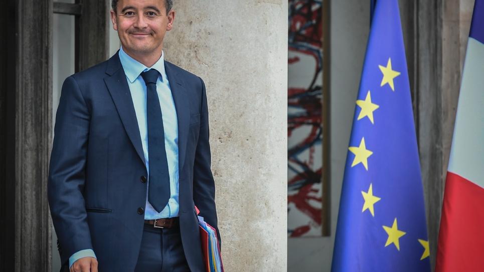 Gérald Darmanin quitte l'Elysée à Paris le 31 août 2018