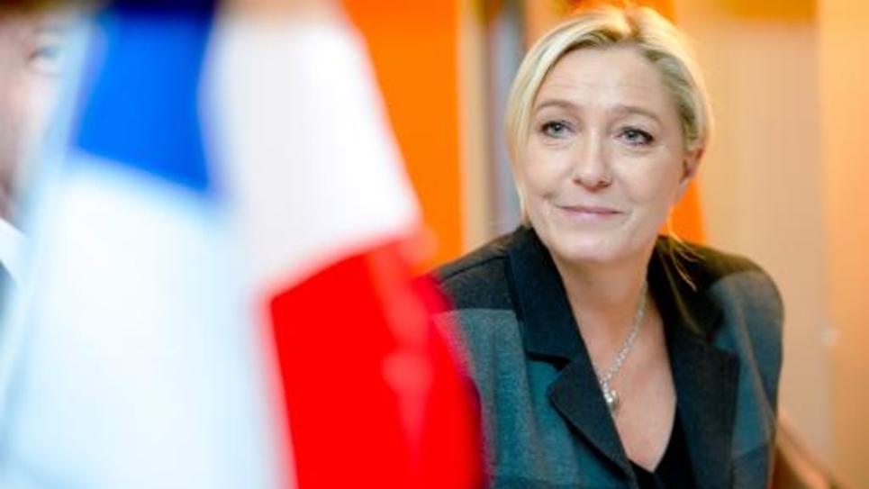 La présidente du Front national Marine Le Pen le 24 octobre 2014 à Calais, dans le Pas-de-Calai
