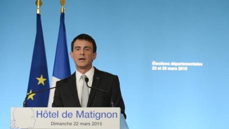 Manuel Valls au soir du premier tour des élections départementales le 22 mars 2015 à Paris
