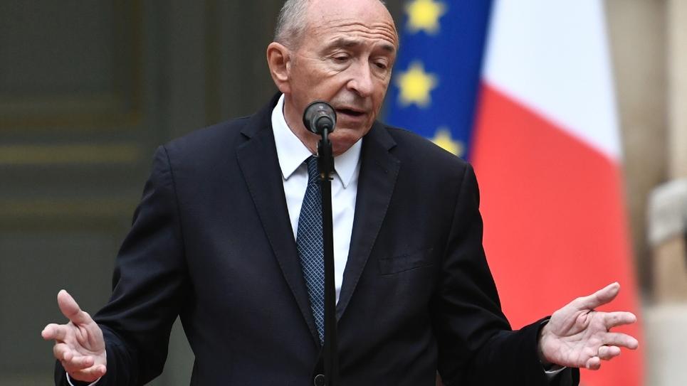 Gérard Collomb lors de la passation de pouvoirs place Beauvau à Paris le 3 octobre