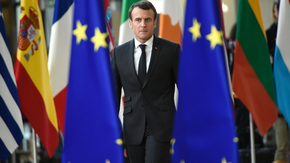 Le président Emmanuel Macron arrive pour un sommet à Bruxelles le 21 mars 2019