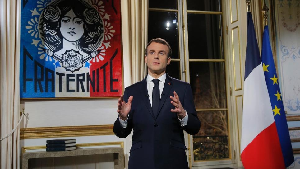 Le président français Emmanuel Macron lors de ses voeux aux Français, le 31 décembre 2018 à Paris