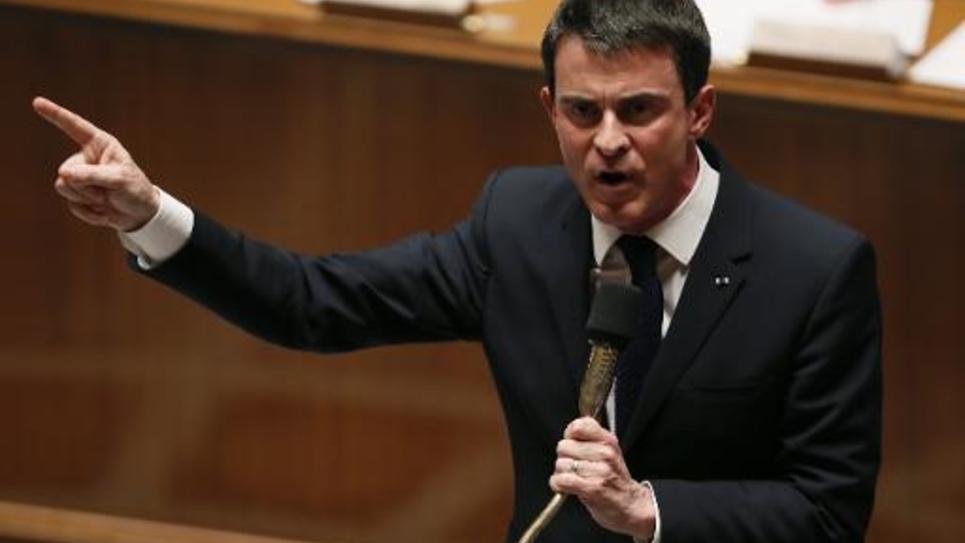 Le Premier ministre Manuel Valls, le 17 février 2015 à l'Assemblée nationale à Paris