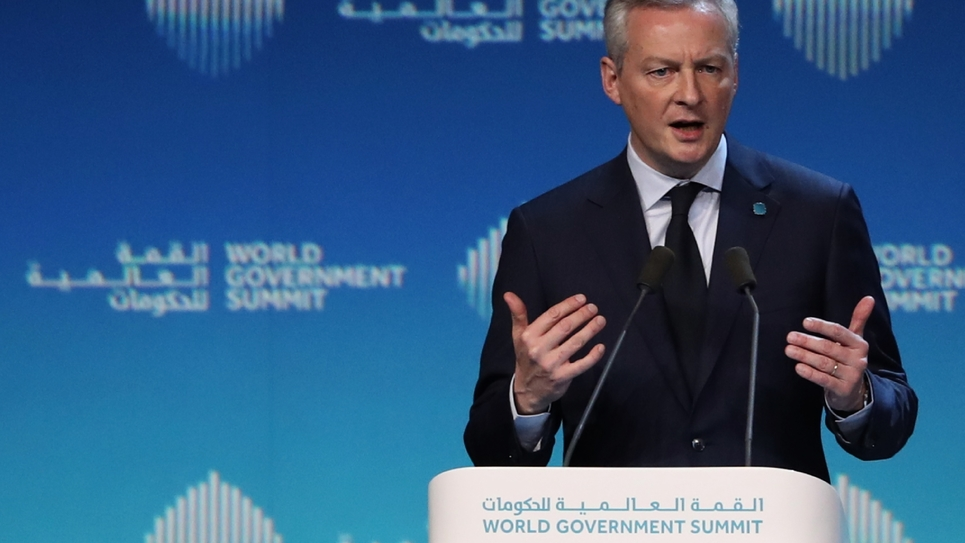 Le ministre français de l'Economie et des Finances Bruno Le Maire lors du World Government Summit le 10 février 2019 à Dubaï