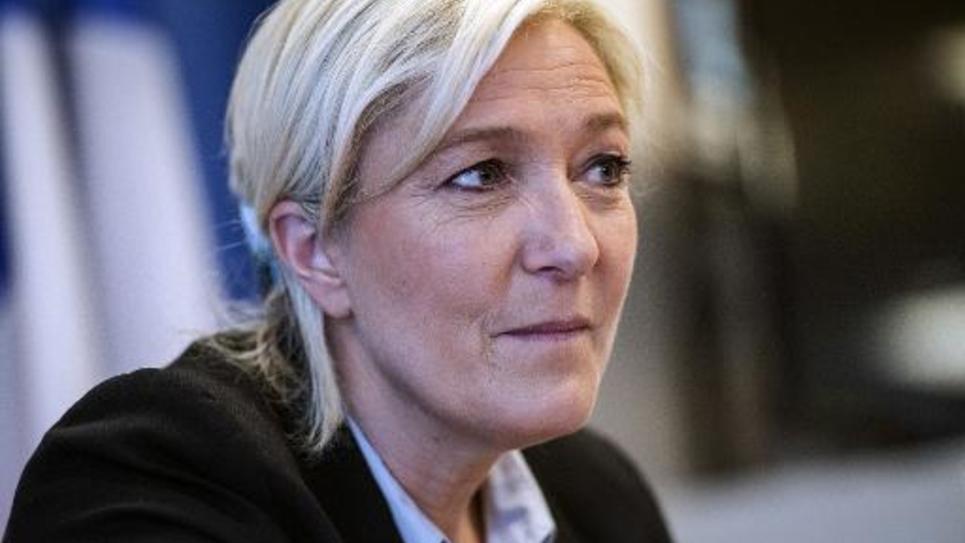 Marine Le Pen lors d'une conférence de presse le 27 mai 2014 à Bruxelles