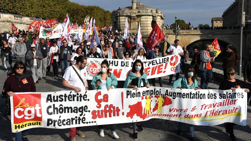 Manifestation contre la politique sociale du président Macron, le 9 octobre 2018 à Montpellier