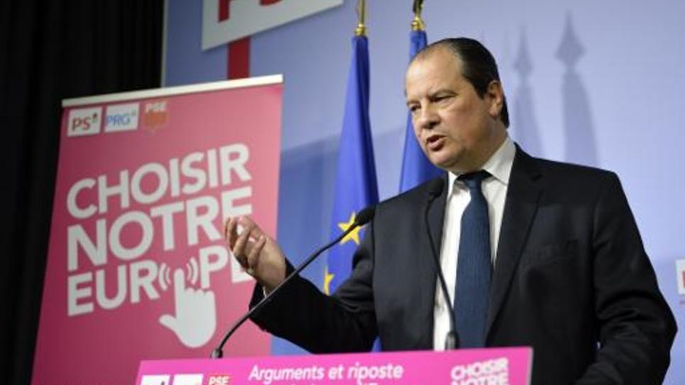 Jean-Christophe Cambadélis, premier secrétaire du Parti socialiste, au cours d'une conférence de presse, le 24 avril 2014 à Paris