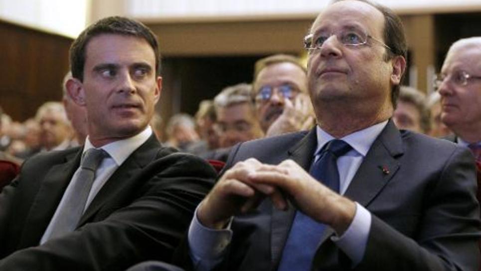 François Hollande et Manuel Valls côte à côte le 28 avril 2014 à Paris