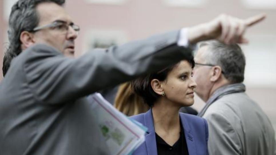 La ministre de la Ville Najat Vallaud-Belkacem en visite le 4 avril 2014 à Pantin avec le maire de de la ville Bertrand Kern