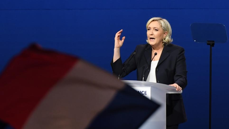 Marine Le Pen en meeting de campagne à Villepinte, le 1er mai 2017