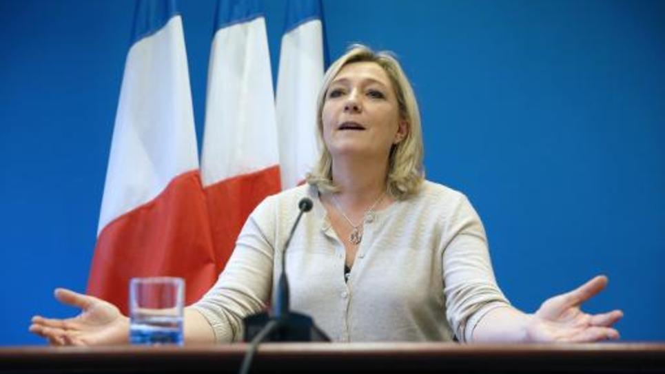 La présidente du Front National Marine Le Pen lors d'un discours à Nanterre le 8 décembre 2014