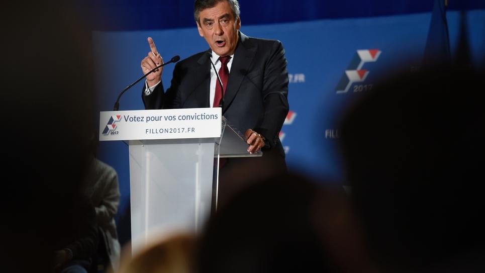 François Fillon pendant un meeting à  Chassieu, dans le sud-ouest de la France, le 22 novembre 2016